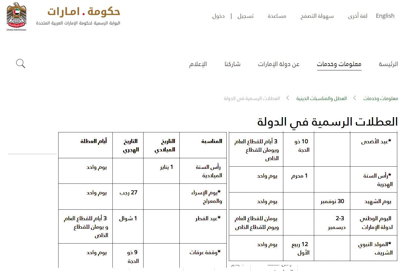 الإمارات الإعلان عن عطلات 2018 أريبيان بزنس