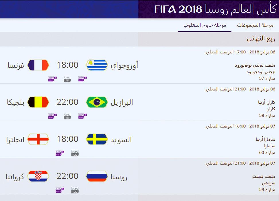 جدول مباريات كأس العالم 2018 في روسيا أريبيان بزنس
