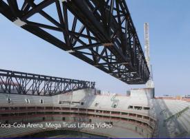 بالفيديو: شاهد رفع سقف الجمالون لـ كوكا كولا أرينا في دبي