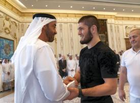 شاهد استقبال محمد بن زايد للبطل العالمي حبيب نور محمدوف