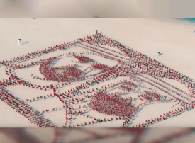 شاهد.. 4500 عَلَم تشكل صورة محمد بن راشد ومحمد بن زايد في حديقة الأَعْلَام