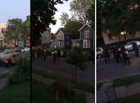 شاهد شرطة مينابوليس تجوب الشوارع وتطلق النار على السكان  على أبواب بيوتهم