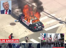 شاهد شريف أمريكي ينضم للمحتجين مع حظر تجول في مدن أمريكية وتهديد ترامب باستدعاء الجيش