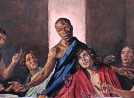 شاهد استبدال صورة المسيح بوجه أسمر البشرة تضامنا مع حركة ضد العنصرية
