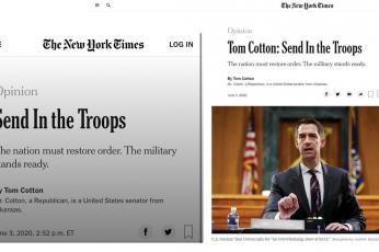 صحيفة نيويورك تايمز تؤيد إرسال الجيش لقمع المظاهرات الأمريكية!