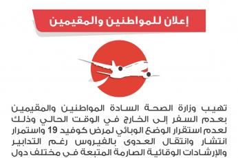 الصحة الكويتية تدعو إلى عدم السفر