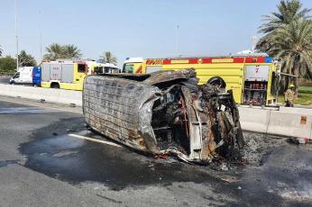 دبي: وفاة شخصين وإصابة 12 آخرين في حادث اصطدام