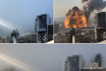 لقطات فيديو جديدة بالوضوح العالي لتهاوي الأبنية بانفجار بيروت