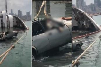 انتشال جثة صياد سمك غرق بسيارته بانفجار مرفأ بيروت