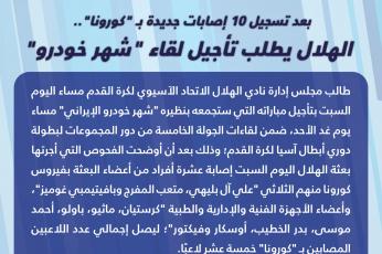 """الهلال السعودي يطلب تأجيل لقاء شهر خودرو بعد  تسجيل 15 إصابة بـ """"كورونا في صفوف لاعبيه"""