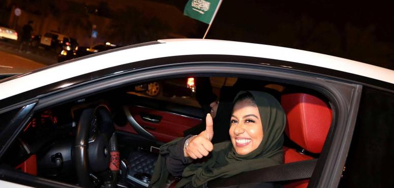 المرأة السعودية خلف مقود السيارة