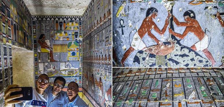 شاهد اكتشاف لوحات فرعونية محفوظة بألوان زاهية من 4300 سنة قبل الميلاد