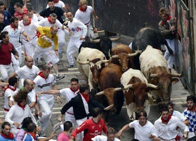 بالصور: شاب يواجه الموت خلال مشاركته بمهرجان الجري امام الثيران في بامبلونا الاسبانية