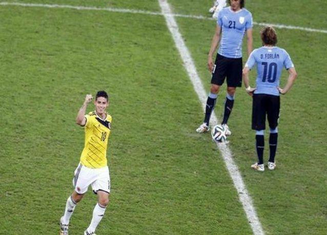 كولومبيا تتأهل إلى ربع نهائي مونديال البرازيل على حساب الأوروغواي
