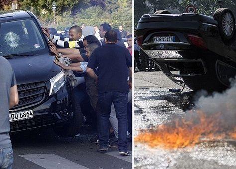 إضراب عنيف لسائق التكسي في فرنسا بسبب خدمة سيارات أوبر Uber الرخيصة