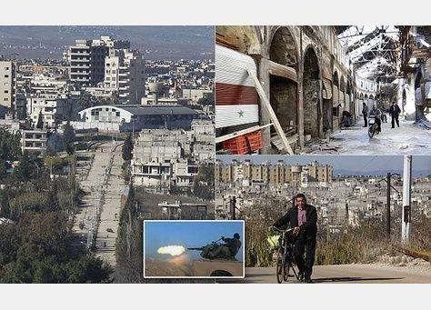 شاهد محاولة أهل مدينة حمص السورية استعادة حياتهم الطبيعية وسط الدمار الهائل في المدينة
