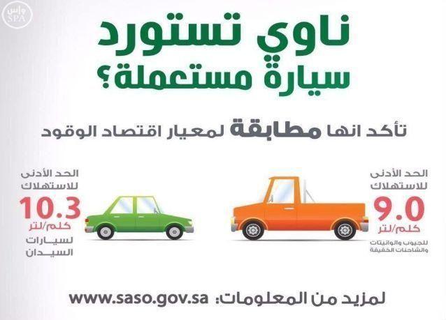 السعودية : منع استيراد السيارات المستعملة المخالفة لمعيار اقتصاد الوقود اعتباراً من 1 يناير