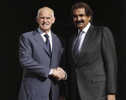 """قطر تستثمر في اليونان المتعثر.. و"""" باباندريو"""" يرحب بالاستثمارات"""