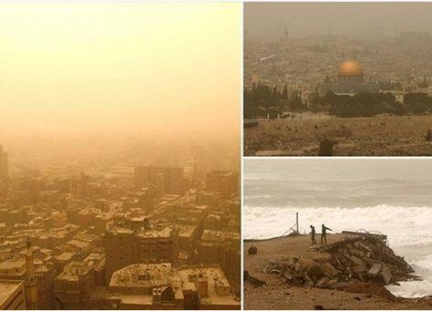 بالصور: عاصفة رملية تضرب مصر ولبنان وفلسطين وتوقف الملاحة في قناة السويس