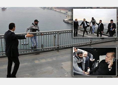 """""""أردوغان"""" ينقذ شاباً من الانتحار في اسطنبول"""