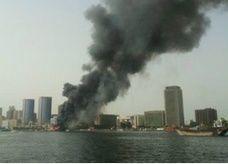 اندلاع حريق كبير قرب خور دبي