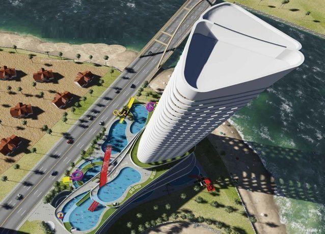بالصور: الكشف عن أول حديقة مائية في برج سكني بقطر