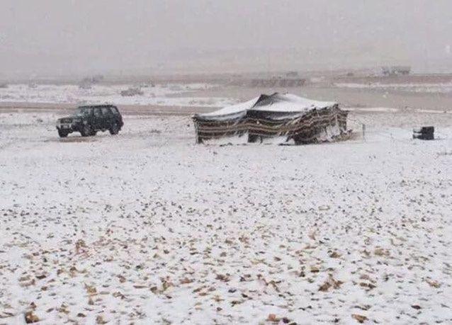 بالصور : الثلوج تغطي المناطق الشمالية من السعودية