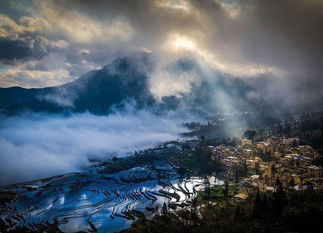 بالصور :الطبيعة ترسم أجمل اللوحات على حقول الأرز في الصين