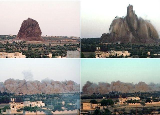 تفجير 60 طنا من المتفجرات أسفل قاعدة للجيش السوري