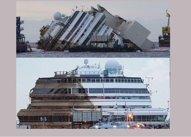 بالفيديو: بتكلفة 600 مليون يورو، عملية انتشال سفينة كوستا كونكورديا برفعها عن الصخور