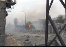 شارع يتهدم بالكامل بعد قصف في القصير بسوريا