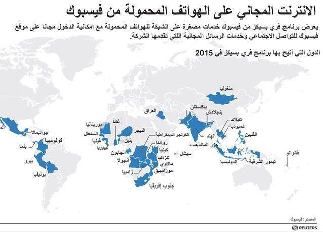 ماهي الدول التي تقدم إنترنت مجاني على الهواتف المحمولة من فيسبوك؟