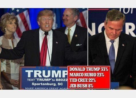دونالد ترامب يطيح بآمال جيب بوش للفوز بترشيح الحزب الجمهوري له في انتخابات الرئاسة الأمريكية