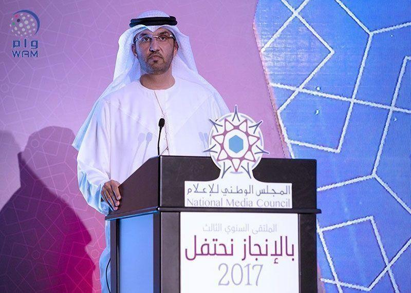 سلطان الجابر يطلق الهوية الجديدة للمجلس الوطني للإعلام في الإمارات