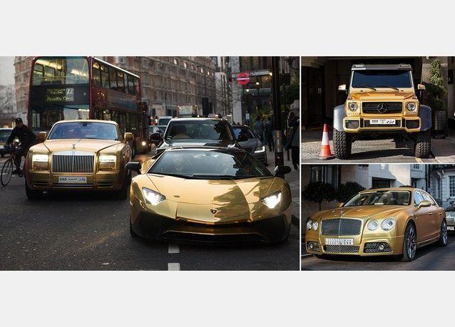 أسطول سيارات مطلية بالذهب يثير فضول الصحف البريطانية