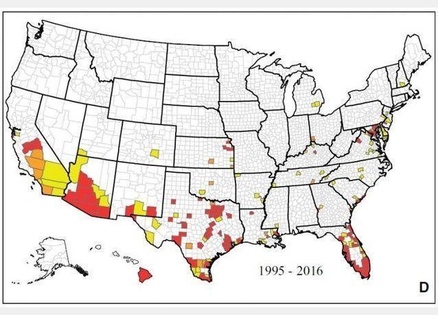 خريطة رسمية: البعوض الناقل لفيروس زيكا يعيش في كل الولايات الأمريكية تقريبا