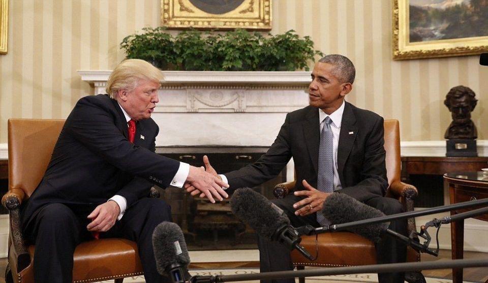 أوباما وترامب يبحثان قضايا داخلية وخارجية في اجتماع بالبيت الأبيض
