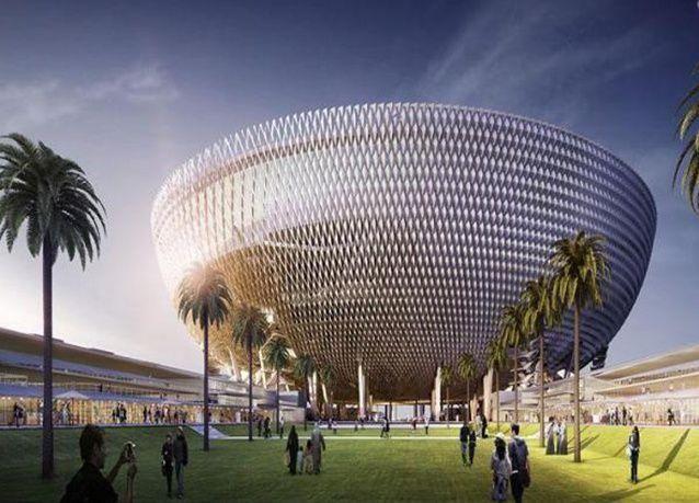"""بالصور : محمد بن راشد يطلع على تصميم الاستاد الجديد في دبي """"تحفة الملاعب العالمية """""""