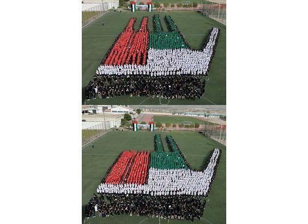 """بالصور : أكبر لوحة بشرية متحركة لعلم الإمارات تدخل موسوعة """"غينيس"""" للأرقام القياسية"""