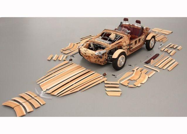 """بالصور : تويوتا تكشف عن سيارتها المثيرة """"سيتسونا"""" المصنعة من الخشب"""