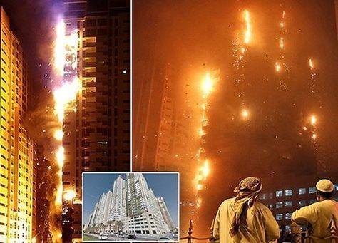 حريق في برجين سكنيين في عجمان، وأنباء عن إصابة خمسة أشخاص