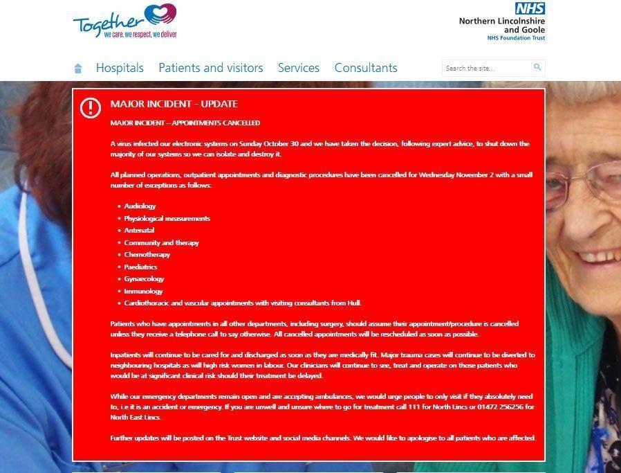 فيروس كمبيوتر يتسبب بإلغاء العمليات الجراحية والعلاج في ثلاثة مستشفيات في إنجلترا