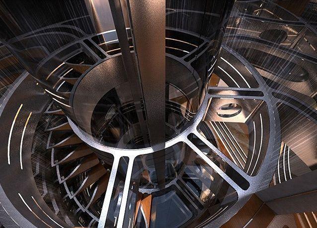بالصور : تصميم يخت فاخر من طابقين مزود بمهبط للطائرات وحوض سباحة ومصعد زجاجي