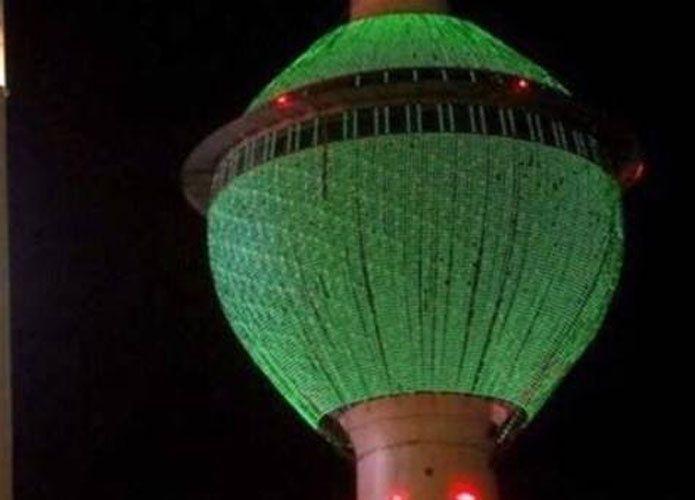 أبراج دول الخليج تضيء باللون الأخضر تضامناً مع السعودية