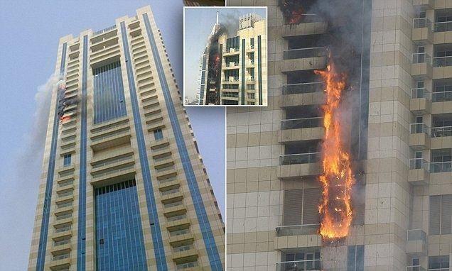 """بالصور : اندلاع حريق في """"برج سلافة"""" بدبي .. وإخلاء السكان من منازلهم"""