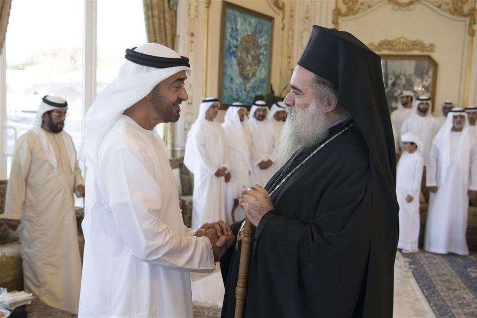 محمد بن زايد يستقبل رئيس أساقفة القدس