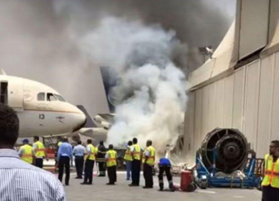 اشتعال حريق بطائرة سعودية في مطار جدة