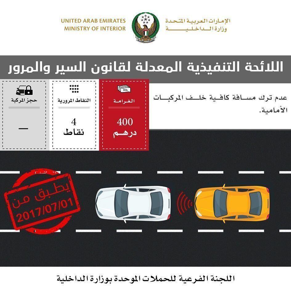 غرامات المرور الجديدة تدخل حيز التنفيذ في الإمارات