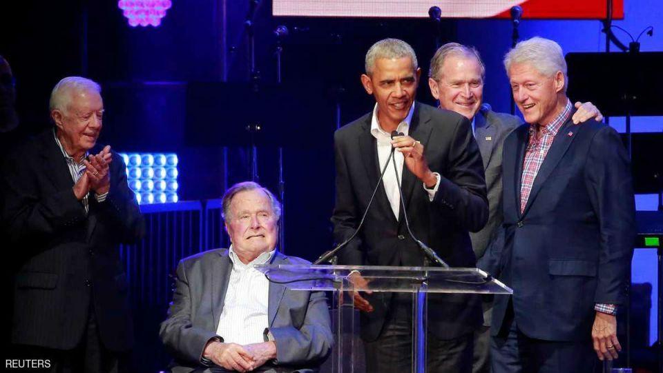 5 رؤساء أمريكيين يحضرون حفلا لدعم ضحايا الأعاصير