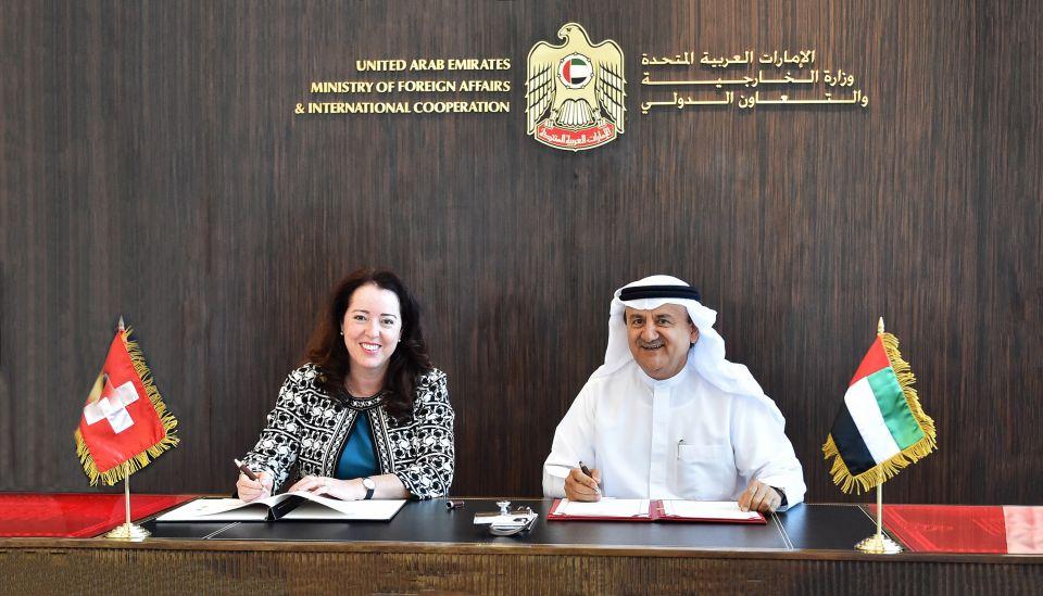 الإمارات وسويسرا توقعان اتفاقية الإعفاء من تأشيرة الإقامة لمواطني البلدين